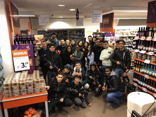 Professionele lasergame personeelsuitje supermarkt Haarlem